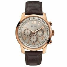 Guess W0380G4 Brown Leather Strap Men's Watch