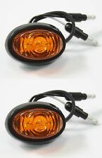 "Pair 3/4"" Bullet Amber Round Mini LED Light Clearance Side Marker Truck Trailer"