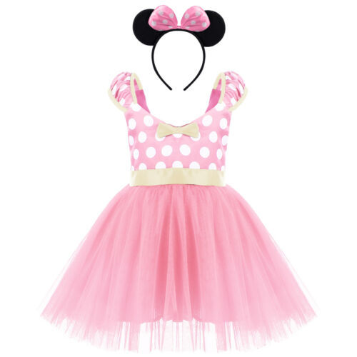 Minnie Mouse Girls Costume Fancy Tutu Dress Up Birthday Party Outfits Ear Sets