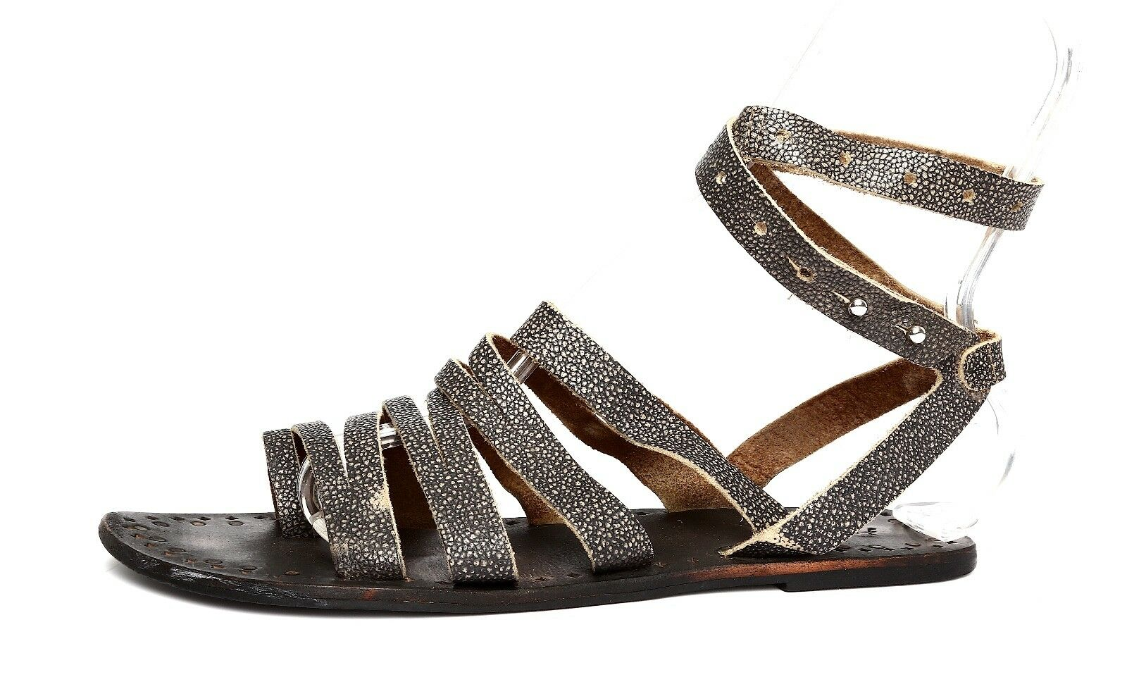Free People Women's Black Leather Ankle Strap Flat Sandals Sz 40