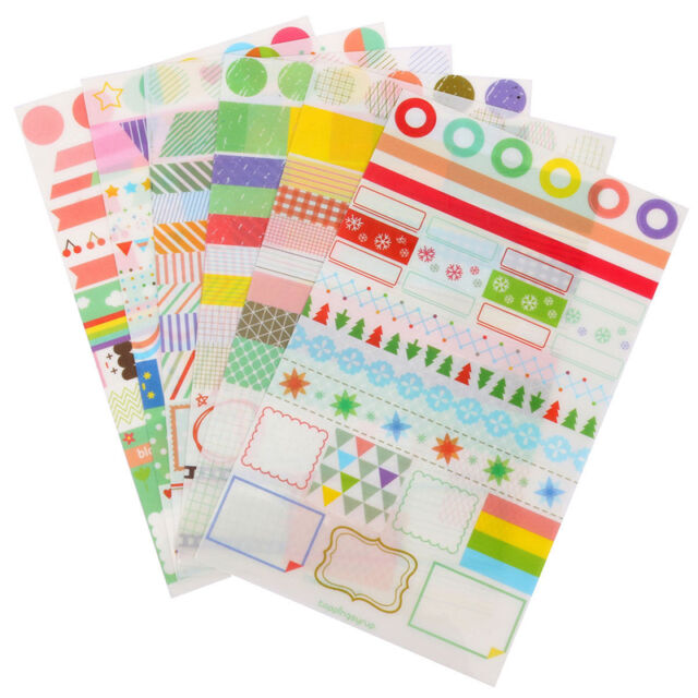 6 Sheets DIY Painting Diary Stickers Diary Book Album Calendar Decoration