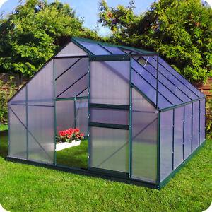 gew chshaus mit fundament garten alu treibhaus fr hbeet tomatenhaus 6mm gr n ebay. Black Bedroom Furniture Sets. Home Design Ideas