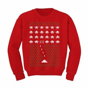 Christmas Sweaters Cute.Details About Space Geeky Ugly Christmas Sweater Invaders Cute Xmas Kids Sweatshirt Holidays