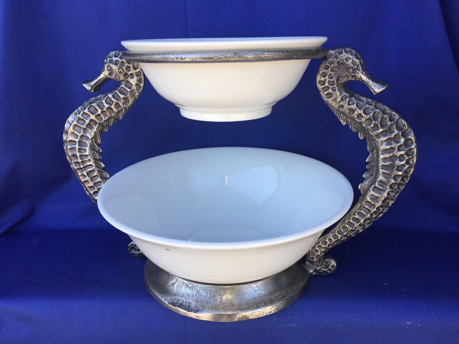Vintage PIER 1 Serving Bowls Bowls Bowls on Stand NAUTICAL ooak RARE ▬ PEWTER SEAHORSE  ️m17 753853