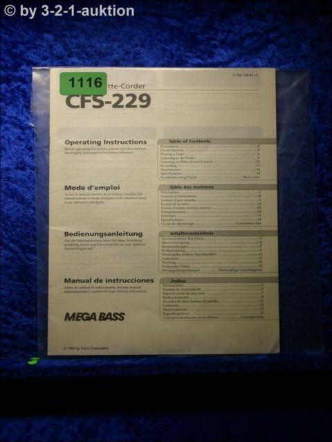 Sony Manual Cfs 229 Cassette Corder   1116