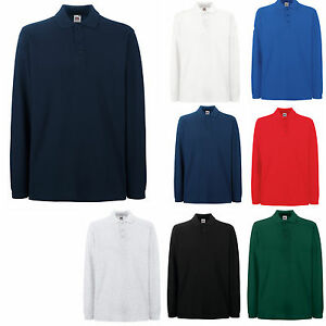 2-FRUIT-OF-THE-LOOM-100-COTTON-LONG-SLEEVE-POLO-SHIRTS