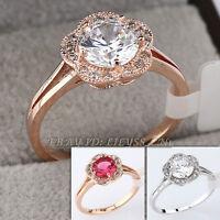 Simulated Gemstone Fashion Ring 18KGP CZ Rhinestone Crystal Size 5.5-9