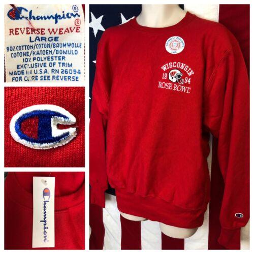 NWT Vintage Champion 1994 Rose Bowl WISCONSIN BADGERS Reverse Weave Sweatshirt L