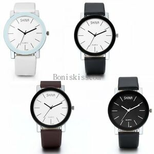 Fashion-Leather-Band-Stainless-Steel-Sport-Analog-Quartz-Women-Mens-Wrist-Watch