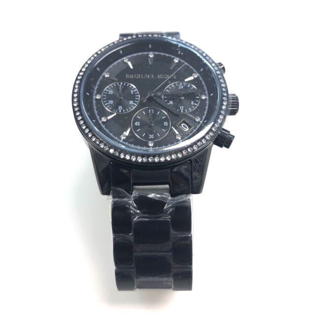 Michael Kors MK Ritz Crystal Accented Black Chronograph 36mm Watch MK6438