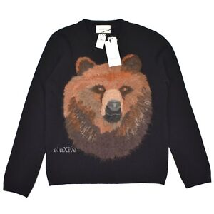 13d2ac1cdc Details about NWT  1.8k GUCCI Men s Black Wool Bear Embroidered Crewneck  Sweater L AUTHENTIC