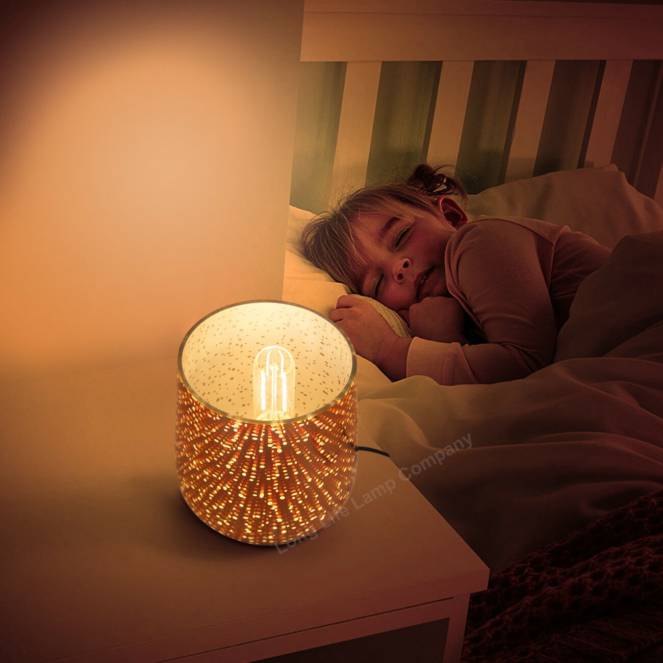 Modern Glass Table Lamp 3D Speckle Copper Finish CL001