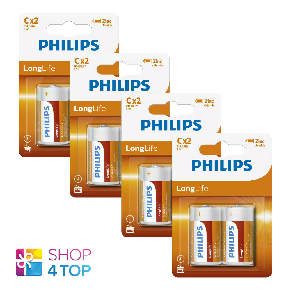 8 philips longlife c batteries r14 baby chloride 1.5v 2bl Exp 2023 new