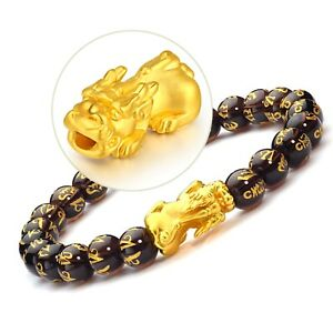 Real-24k-Yellow-Gold-3D-Lucky-Pixiu-With-Six-word-Motto-Agate-Link-Bracelet