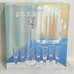 New Etched Glass Cordial Set 7pc 6 Cordial Glasses 1 Decanter Star Design 28225577602 Ebay