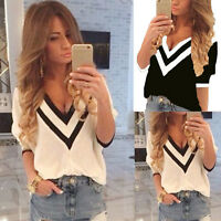 Womens Loose Half Sleeve V Neck Chiffon T-Shirt Ladies Summer Casual Tops Blouse