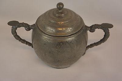 Yet Not Vulgar Discreet Superb Antique Chinese Pewter Swatow Sugar Bowl y8-w7-a8