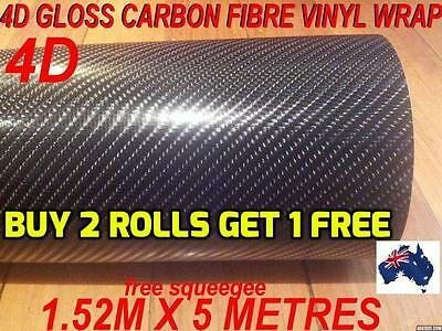OZ 4D Gloss Carbon Fibre Car Vinyl Wrap Sticker1.52 X 5metre,  Wrap full Car