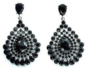 New Black Tone Crystal Style Drop Down Dangle Chandelier Earrings Design Fashion