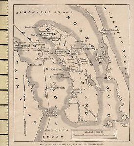 Antiquitäten & Kunst Sonstige Einfach C1860 Viktorianisch Landkarte ~ Roanoke Island N.c & Konföderierte Forts