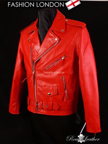 Brando Rouge Hommes Motard Moto Moto Cruiser veste en cuir peau de vache