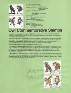 #7823 15c American Owl Stamps #1760-63 USPS Souvenir Page