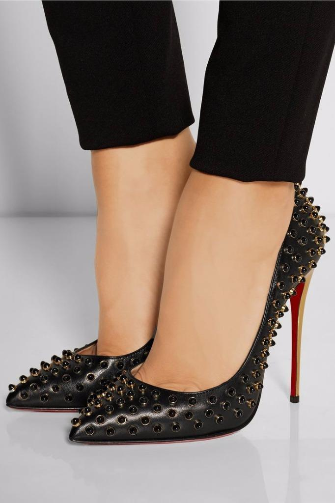 Christian Louboutin FOLLIES CABO Studded Beaded Spike Heel Pump chaussures Blck  1395
