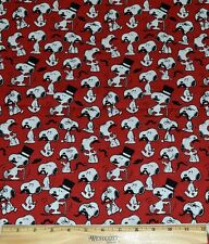 SNOOPY FABRIC! BY THE HALF YARD! TOP HAT~CANE~MOUSTACHE! PEANUTS~BEAGLE!