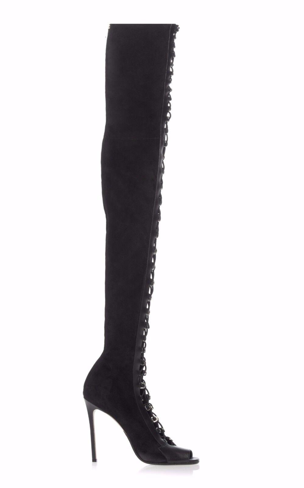 Mujeres Damas Damas Damas Punta Abierta con Cordones Alto del muslo sobre la rodilla botas Stiletto Tamaño Grande f1144a