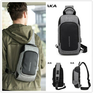 KAKA Men's Chest Bag Witg USB Charging Design Messenger Crossbody Nylon