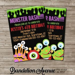 custom monster bash printable halloween birthday party invitation