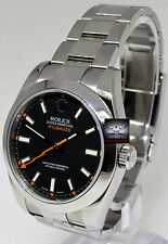 Rolex 116400 Mens Milgauss Stainless Steel Black Clear Crystal Watch Chest