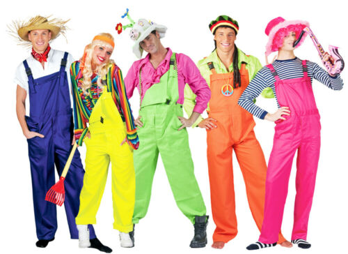 Clown Gardener Costume Carnival Theme Dungarees in Neon Colour for Adults