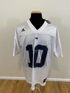 """Details about NEW NWT Adidas Notre Dame Football #10 Brady Quinn """"Chalk"""" Jersey Size Large"""