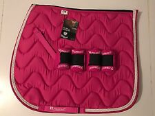 Rhinegold MatchyMatchy Set-SaddlePad/Numnah/Cloth & Bandages-Raspberry Pink-COB