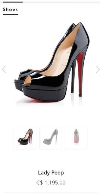 New W Nuance Christian Louboutin Lady Peep Heels Black 150mm Sz 9 5 Or 40 Eu