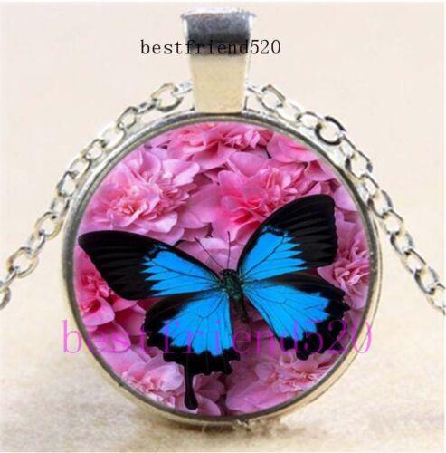 Papillon Bleu Photo Cabochon Dôme en Verre Argent Chaîne Collier Pendentif
