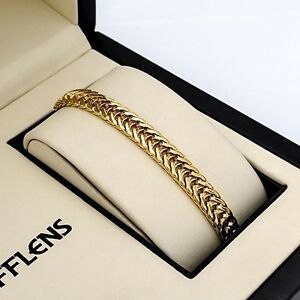 Men-039-s-Women-039-s-Bracelet-Chain-18K-Yellow-Gold-Filled-8-034-Link-Fashion-Jewelry-HOT