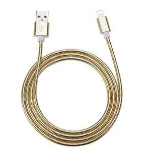 Spring-Metal-Fast-Charging-USB-Cable-IOS-Gold