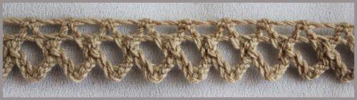 "2 Y Dark Beige Narrow Cotton Crochet Cluny lace Trim 7//16/"" W"