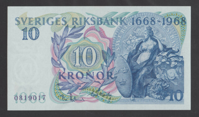 SWEDEN  10 Kronor 1968  UNC   P56a  Commemorative banknote