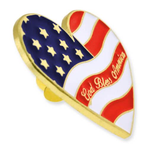 PinMart/'s Heart Shaped American Flag God Bless America Lapel Pin