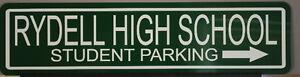 "METAL STREET SIGN "" RYDELL HIGH SCHOOL "" GREASE JOHN TRAVOLTA OLIVIA NEWTON JOHN"