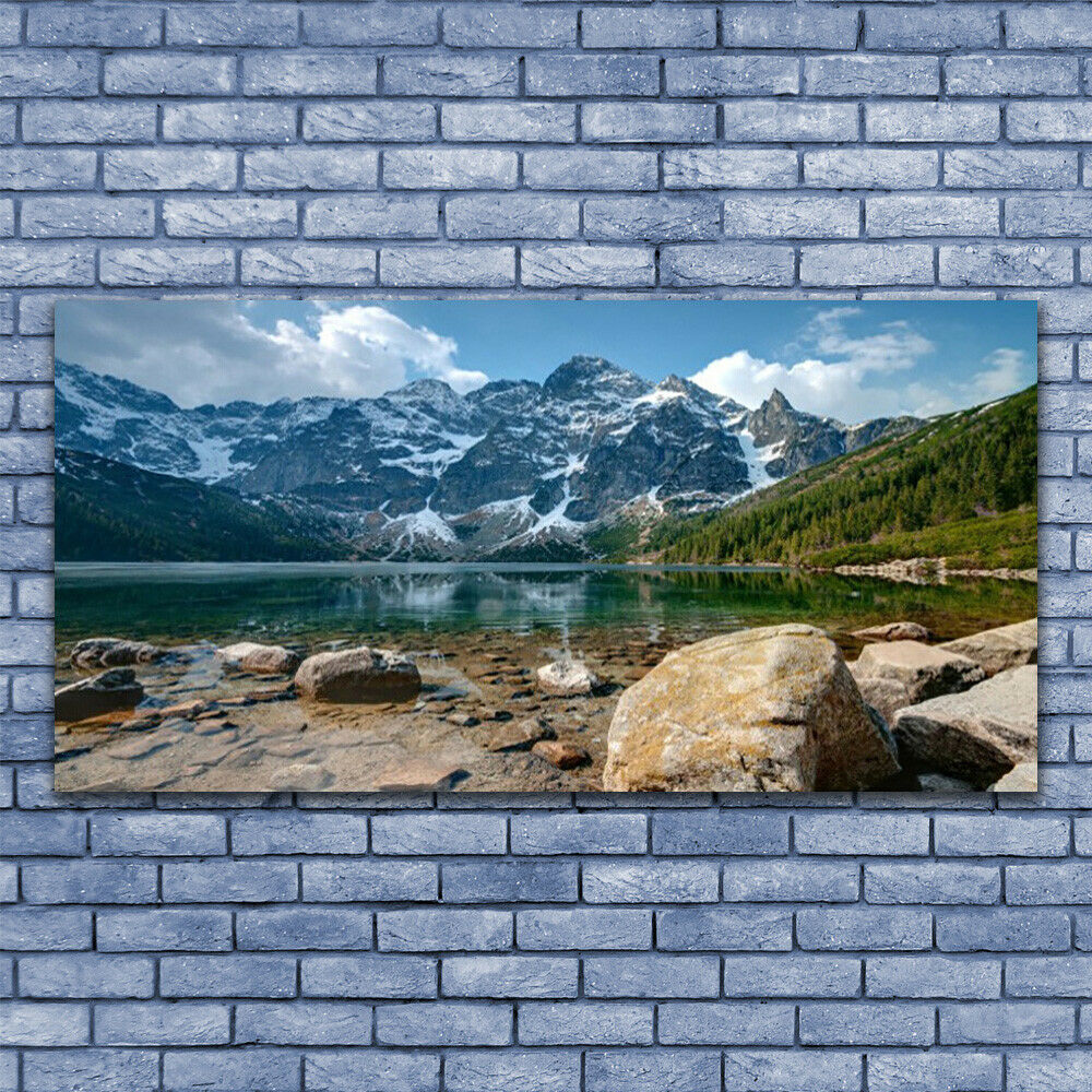 Glass print Wall art 140x70 Image Picture Mountain Lake Stones Landscape