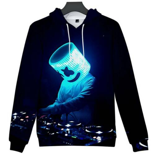 Kids Boys Marshmello Neon DJ 3D Printed Hoodies Sweatshirt Pullover Hooded Top