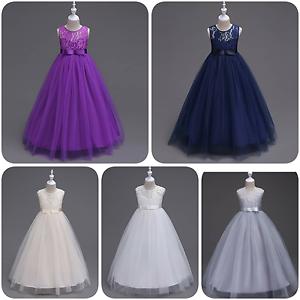 Reducido-a-borrar-Chicas-Blusa-de-encaje-de-graduacion-boda-desfile-vestido-largo
