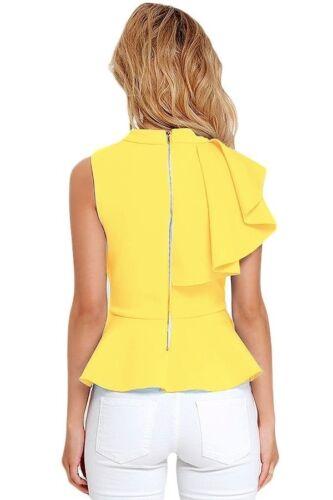 Women White Black Yellow Asymmetric Ruffle Side Peplum Top T-shirt Blouse