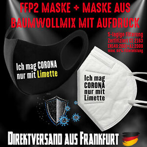 FFP2 Maske CE 2163 + Fashion Mask Mundschutz Mundmaske Corona Limette