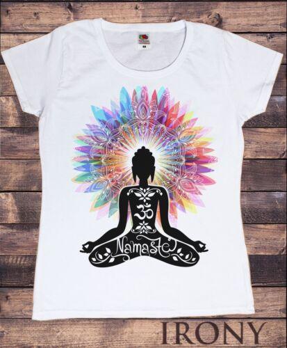 Womens T-Shirt Namaste Buddha flowers colour explosion Yoga meditation TS1317