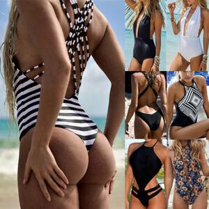 6f31d10ef52f0 Image is loading Women-Summer-One-Piece-Swimsuit-Monokini-Stripe-Swimwear-